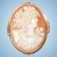 Large Stunning Carved Shell Cameo in 10K Yellow Gold Setting