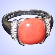 Estate South Seas Coral and Diamond Ring Size 7