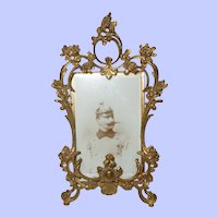 Antique French Baroque Rococo Gilt Standing Photo or Picture Easel Frame