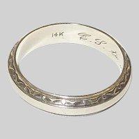 14K White Gold Mid Century Wedding Band Size 10 1/2