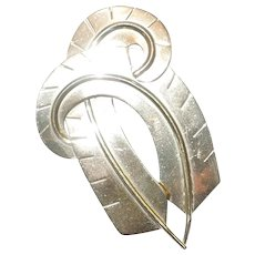 Napier Sterling Silver Double Feather Fur Clip