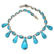 Vintage Hallmarked Sterling Silver and Turquoise Necklace Mexico