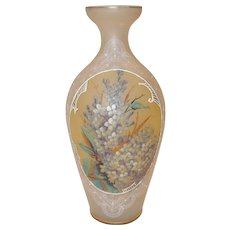 Delicate Victorian Hand Painted and Frosted Glass Vase