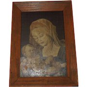 Vintage Oil on Masonite Madonna and Child