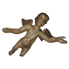 18th Century Italian Polychrome Putti Angel Cherub