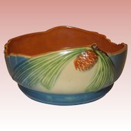 Roseville Blue Pinecone Bowl