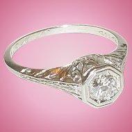 Platinum Victorian Filigree Engagement Ring Size 6 1/4