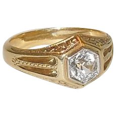 Men's 14K Yellow Gold and Diamond Simulant Ring Size 9