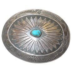 Vintage Native American Turquoise and Sterling Brooch