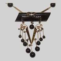 Stunning French Victorian Onyx and 14K Mourning Brooch/Necklace