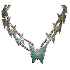 Vintage Navajo Sterling and Turquoise Chip Necklace