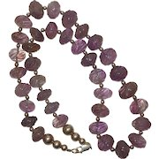 Vintage Native American Carved Amethyst Bead and Sterling Silver Necklace