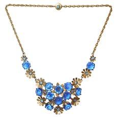 c 1950's Blue Crystal Floral Necklace