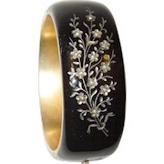 French Victorian Enameled with Seed Pearls Mourning Bracelet Bangle
