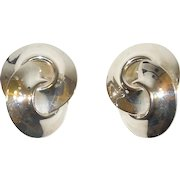 Vintage Sterling Silver Interlocking Circles Clip On Earrings