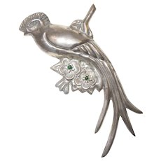 Older Large Mexican Sterling Silver Quetzal Bird Brooch