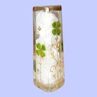 c.1890's German Enameled Four Leaf Clover Bud Vase