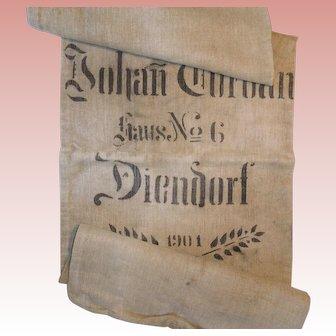 Antique European Grain Sack 1901