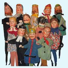 c.1880's Punch and Judy Puppets Set of 12