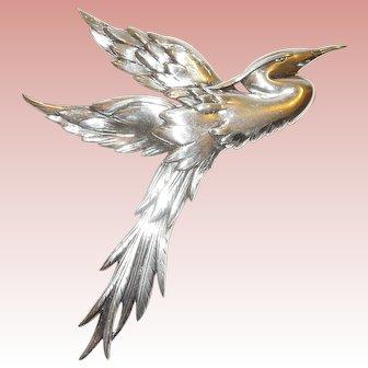 "5"" Danecraft Sterling Silver Flying Crane Brooch"