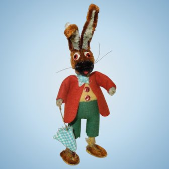 1920's Germany Dressed Chenille Rabbit for Easter