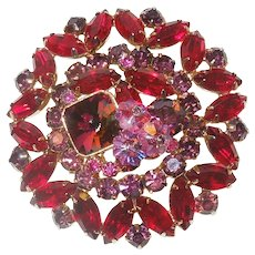 Large Vintage Costume Red and Pink Pin/Brooch