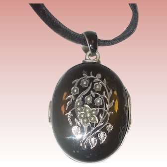 Victorian Enamel Mourning Locket, Lily of the Valley