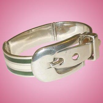 Art Deco Heavy Sterling and Guilloche Enamel Buckle Bracelet