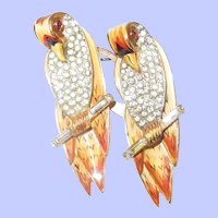 1940's Coro Corocraft Enamel and Pave Parrot Duette