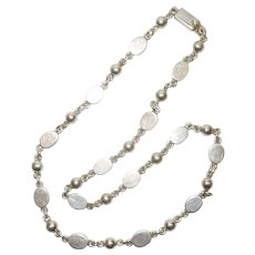 Vintage Taxco Mexico Sterling Silver Chain Necklace
