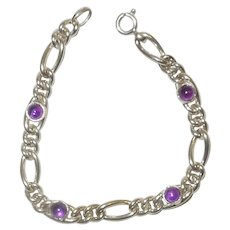 Charming Chain Link Sterling and Amethyst Bracelet