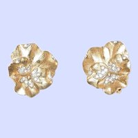 Crown Trifari Pansy Earrings With Rhinestones