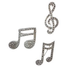 Set of Three Sterling Silver and Marcasite Musical Pins/Brooches