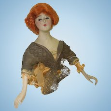 """c.1900 6"""" Chalk Half Doll With Wig and Bisque Arms"""