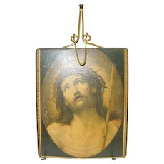 c.1900 Wire Tabletop Easel Style Standing Frame with Picture of Christ