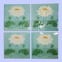 Set of 4 Antique Georg Schmider Art Nouveau Tiles