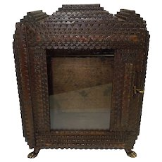 Antique 6 Layer Tramp Art Reliquary with Glass Door C. 1890's