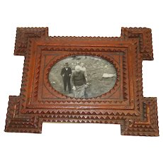 c.1900 Small German Tramp Art Frame Oval Opening