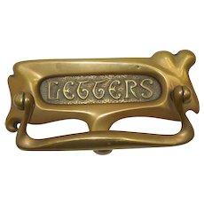 Antique French Art Nouveau Door Knocker/Letter Slot