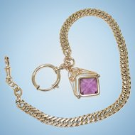 Victorian Gold Filled Pocket Watch Chain with Spinning Amethyst Fob