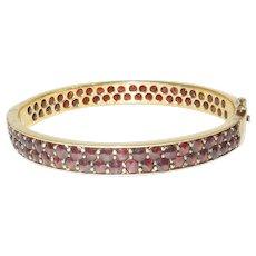 Vintage Bohemian Garnet Bangle Bracelet