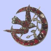 Lovely Edwardian Bohemian Garnet and Seed Pearl Brooch
