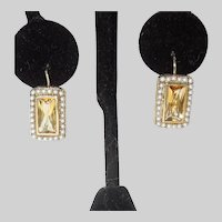 14K Yellow Gold Citrine and Seed Pearl Earrings