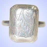 Vintage Sterling Silver Locket Ring Size 8 1/2