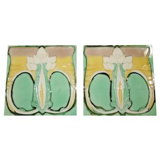 Pair of c. 1900 Art Nouveau Floral German Tiles