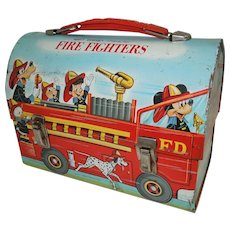 1960's Disney Fire Fighters Dome Top Lunch Box