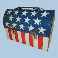 Early 1970's Stars and Stripes Dome Top Lunch Box