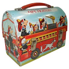 1960's Disney Fire Fighters Dome Top Lunch Box #2