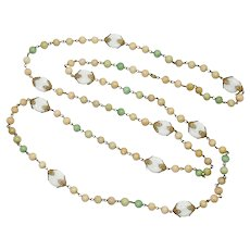 1920's - 30's Opera Length Glass Beaded Necklace