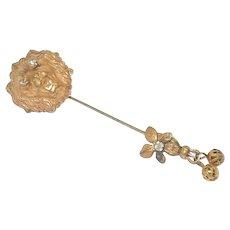 Vintage Miriam Haskell Lion Head Stick Pin